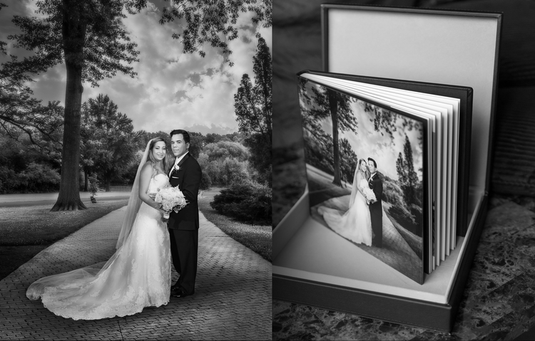 10x10 Leather album with crystal cover in a velvet lined presentation box.  Learn More
