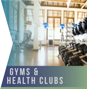 Gyms & Health Clubs   Nowhere is that more true than in a gym or health club setting. In an environment where exertion is the norm and perspiration is encouraged, everything needs to be cleaned and disinfected in the most rigorous way.