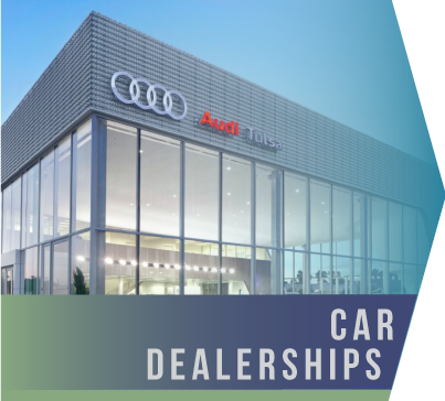 Car Dealerships   Dealerships require the full gamut of services from a cleaning company and frequently need two or three vendors, in addition to in-house employees, in order to meet the specific needs of its facilities.