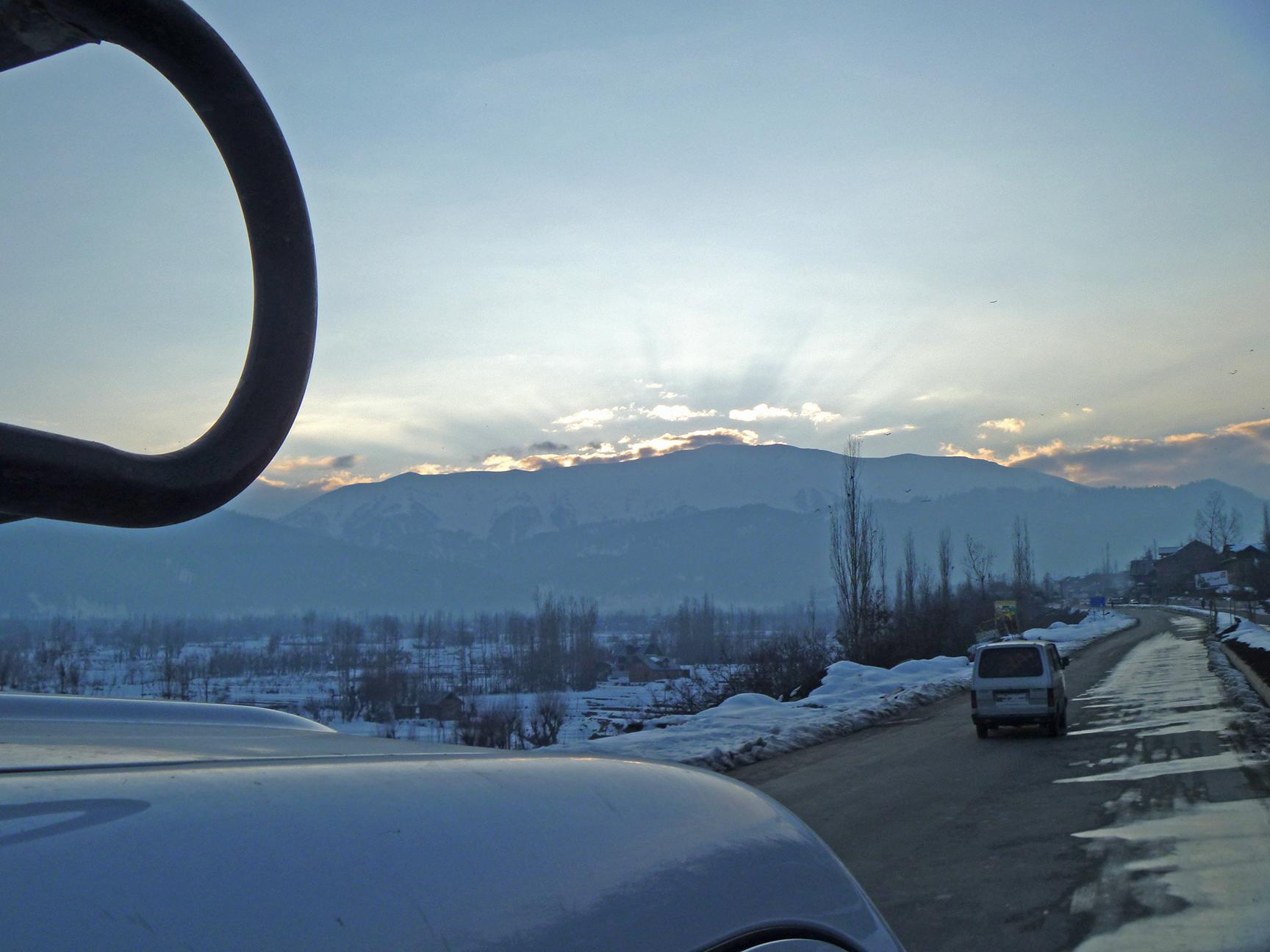 Mighty Mt. Affarwat at sunset from the Srinagar-Gulmarg road