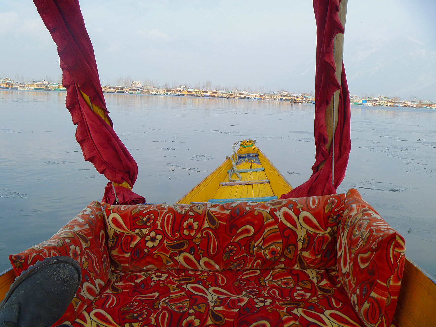 The view from your Shikara heading across Dal Lake