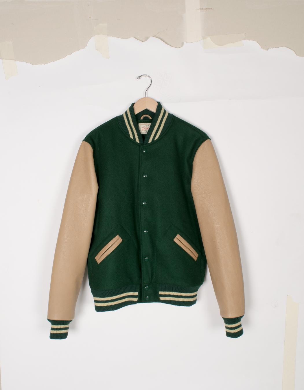 Varsity Jacket - Dark Green/Taupe - $285/$575