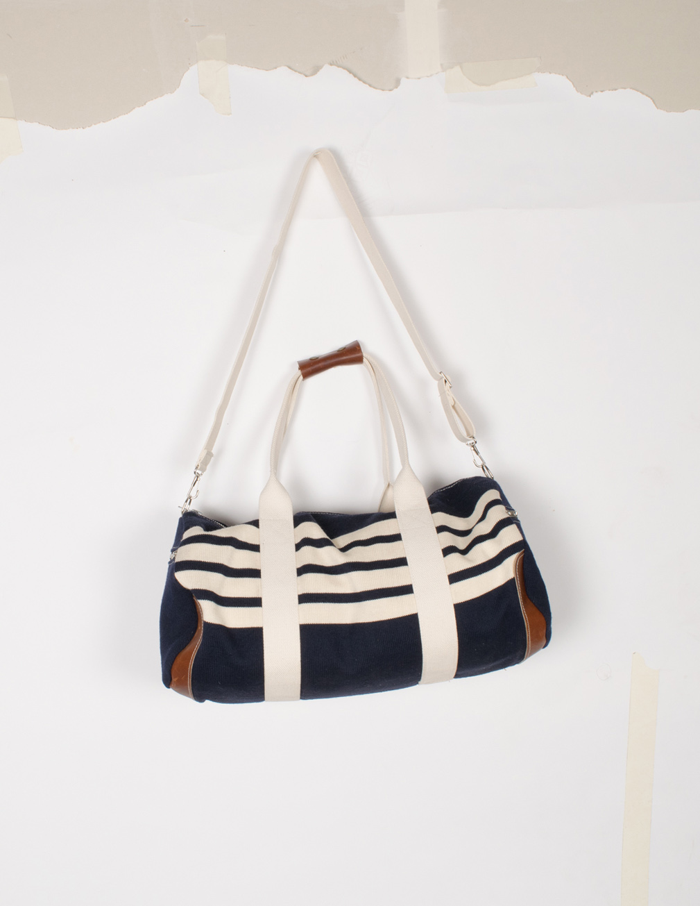 Knit Duffel Bag - Navy/Off-White - $320