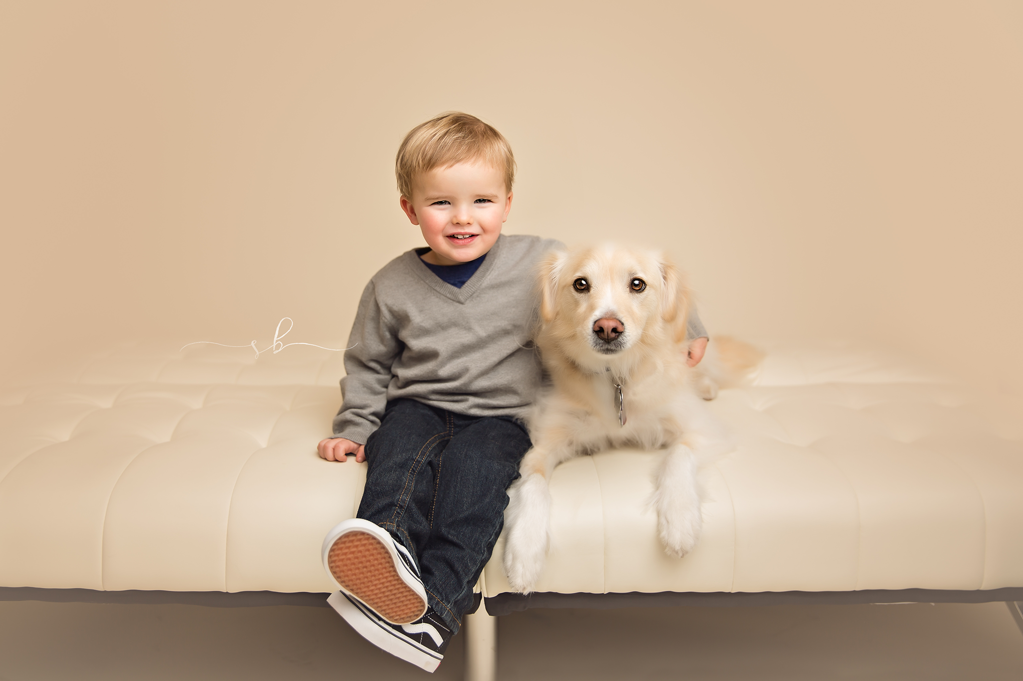 2 year old boy and his dog