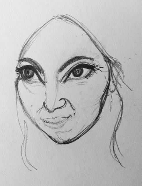 Bride's face sketch