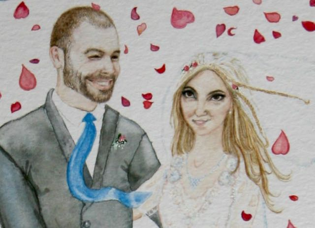 The groom's and bride's faces, detail from the finished card.