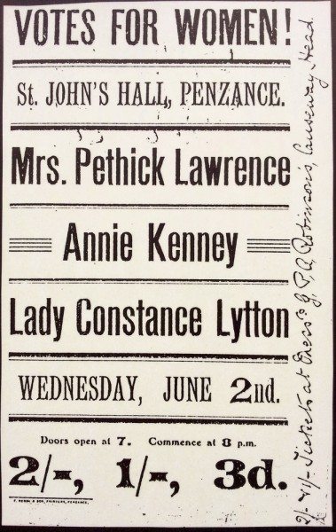 Poster promoting WSPU (Women's Social and Political Union) Suffrage meeting at St John's Hall, Penzance on 2 June 1909