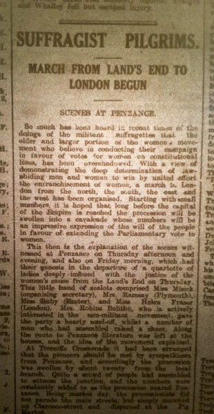 Newspaper extract from  The Cornishman,  21 June 1913.