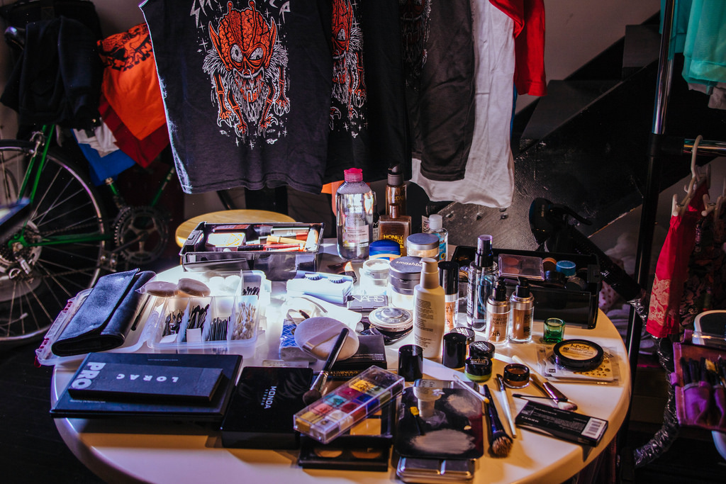 Courtney's makeup and hair station at the Novelty Haus studio.