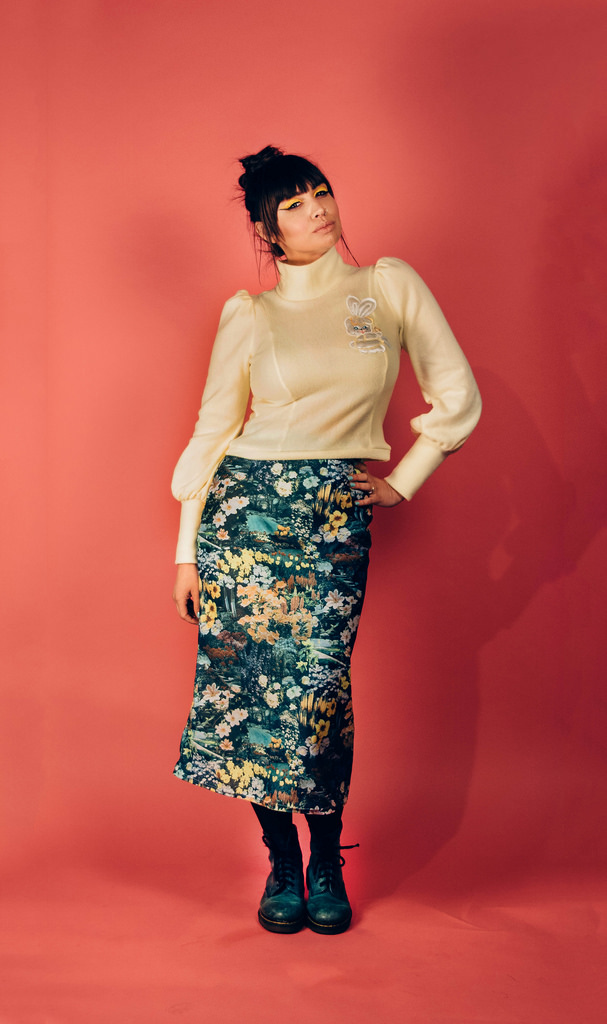 The Bunny Puff Sleeved High Neck Sweater and Green Floral High Waist Knit Skirt are by Monster Lou and are now SOLD OUT.