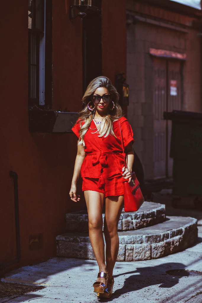 So Simple Red Set by Free People. Gold Wedges by Prada. Red leather Paloma Picasso Bag: Vintage. On The Prowl Sunnies by Quay Australia. Hair by Sarah Vitek of West End Salon in Canton, Baltimore. Outfit details available on  Shop My Closet .