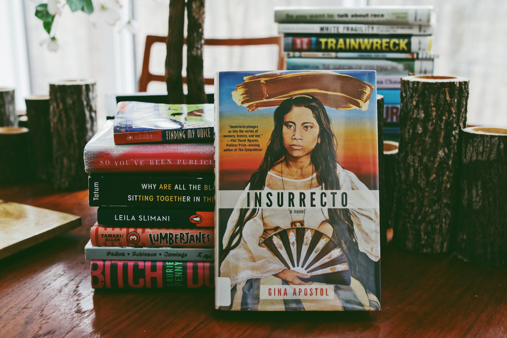 Insurrecto by Filipino author, Gina Apostol, is the first book we are reading. Gina Apostol herself will be the guest of honor at the launch of Decolonize Your Bookshelves on June 6th.