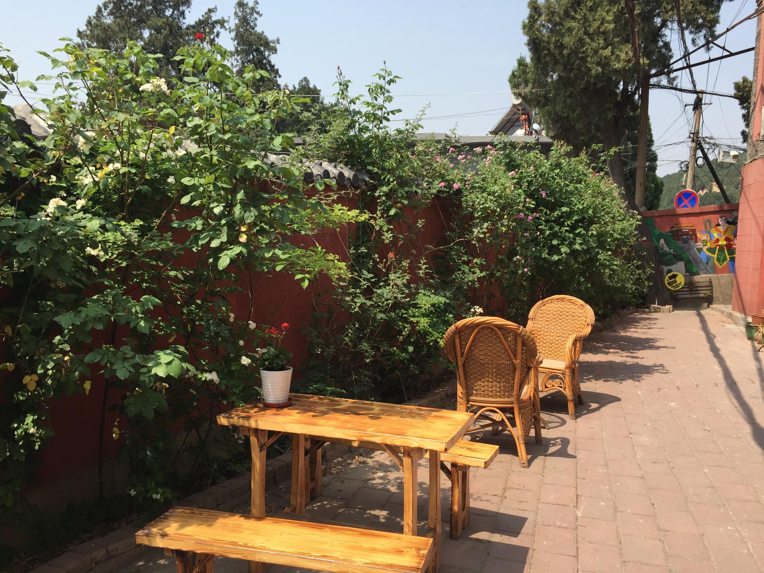 Hostel courtyard.