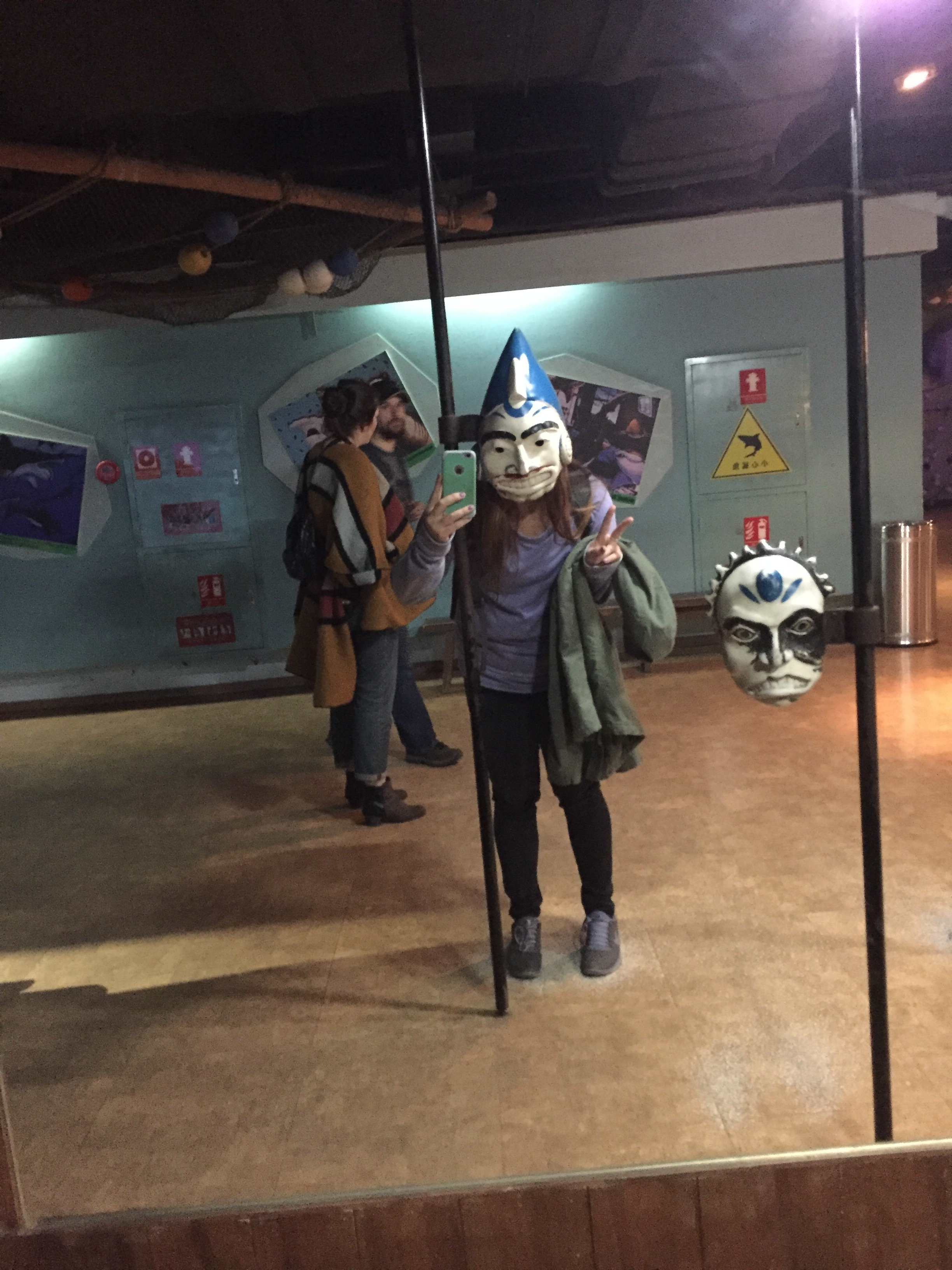 """Shark"" mask at the aquarium."