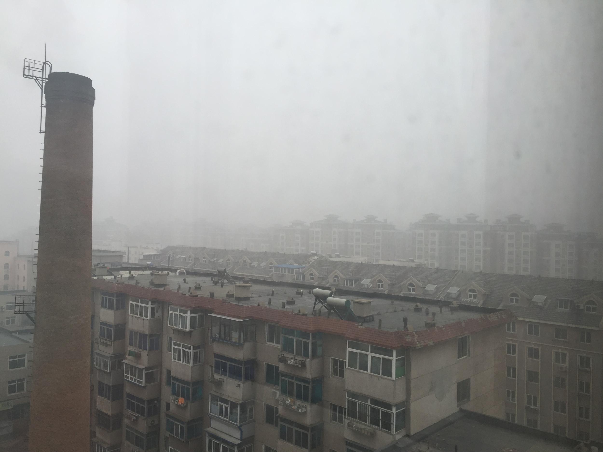 On a bad smog day.