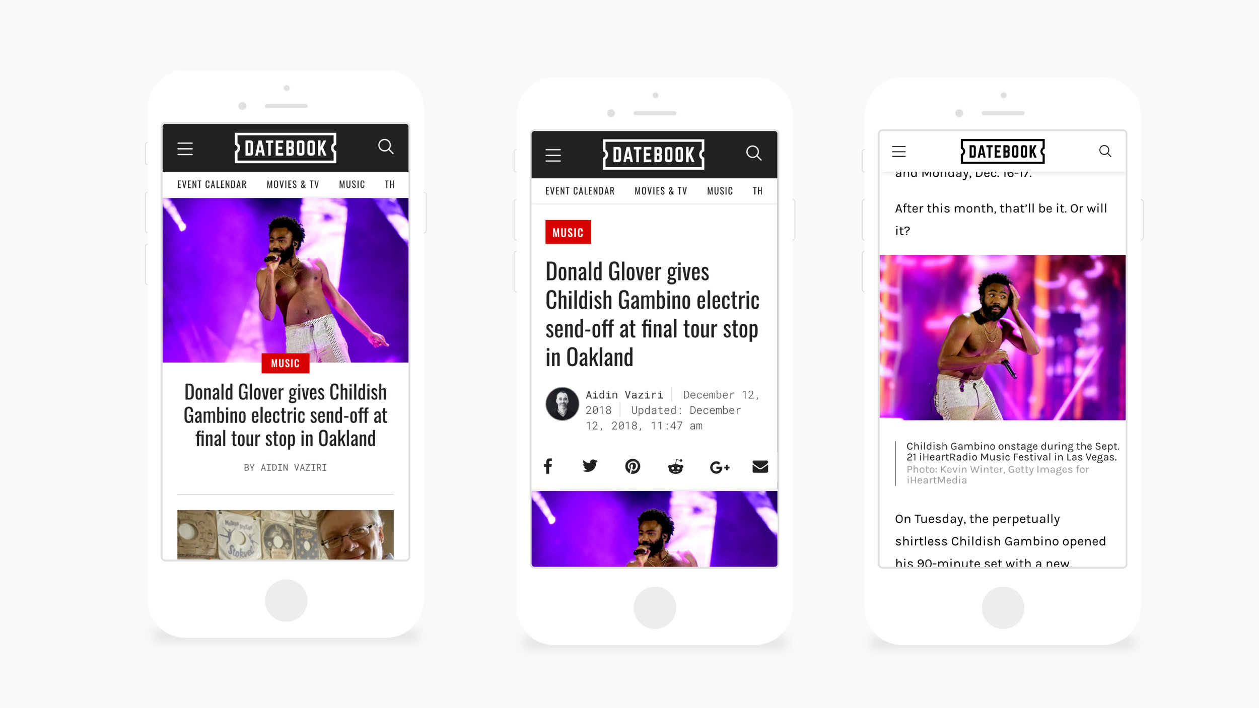 Mobile screenshots of Datebook (Homepage, Article Page, Article Page Scrolled)