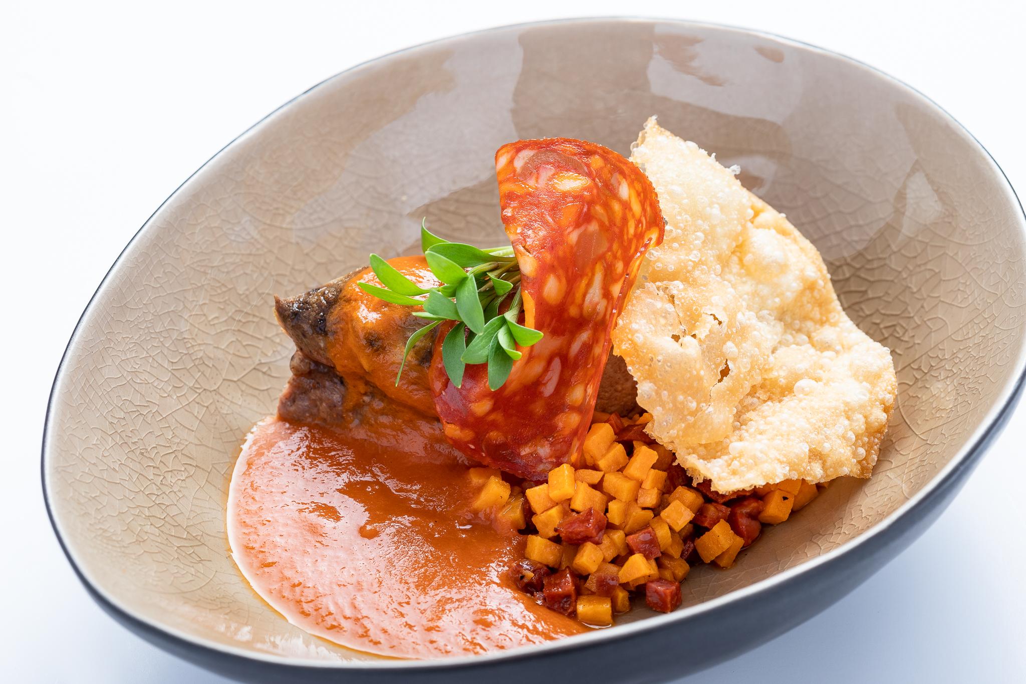 Slow cooked neck of lamb, sweet potato, chorizo, spicy tomato sauce - Goesepitte43