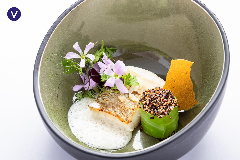 Whiting, pointed cabbage, puffed quinoa, herb salad, buttermilk sauce - RESTAURANT PATRICK DEVOS