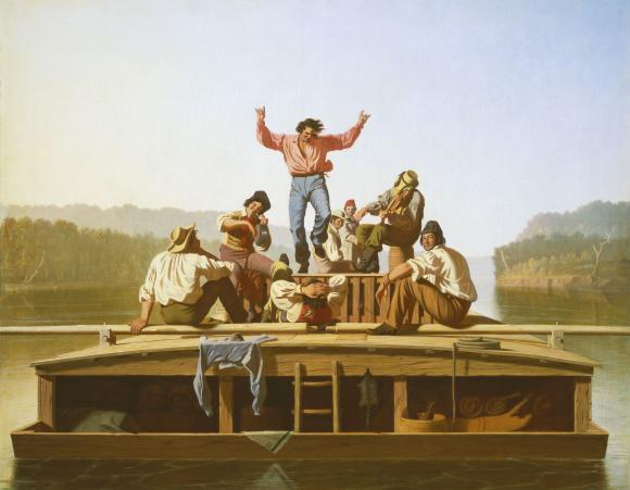 The Jolly Flatboatmen , 1846, Courtesy of The Manoogian Collection and The Amon Carter Museum of Art.