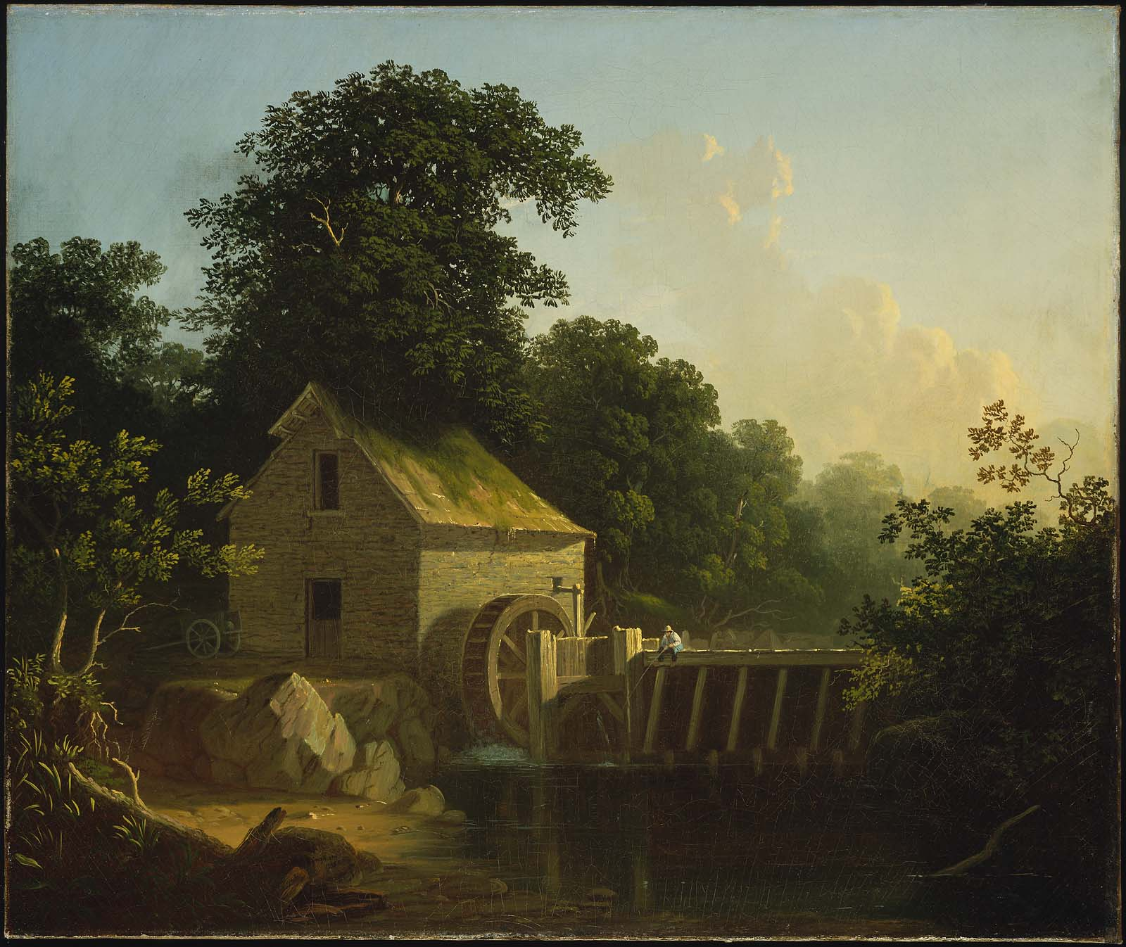 Landscape with Waterwheel and Boy Fishing (1853) . Courtesy of  Boston Museum of Fine Arts.