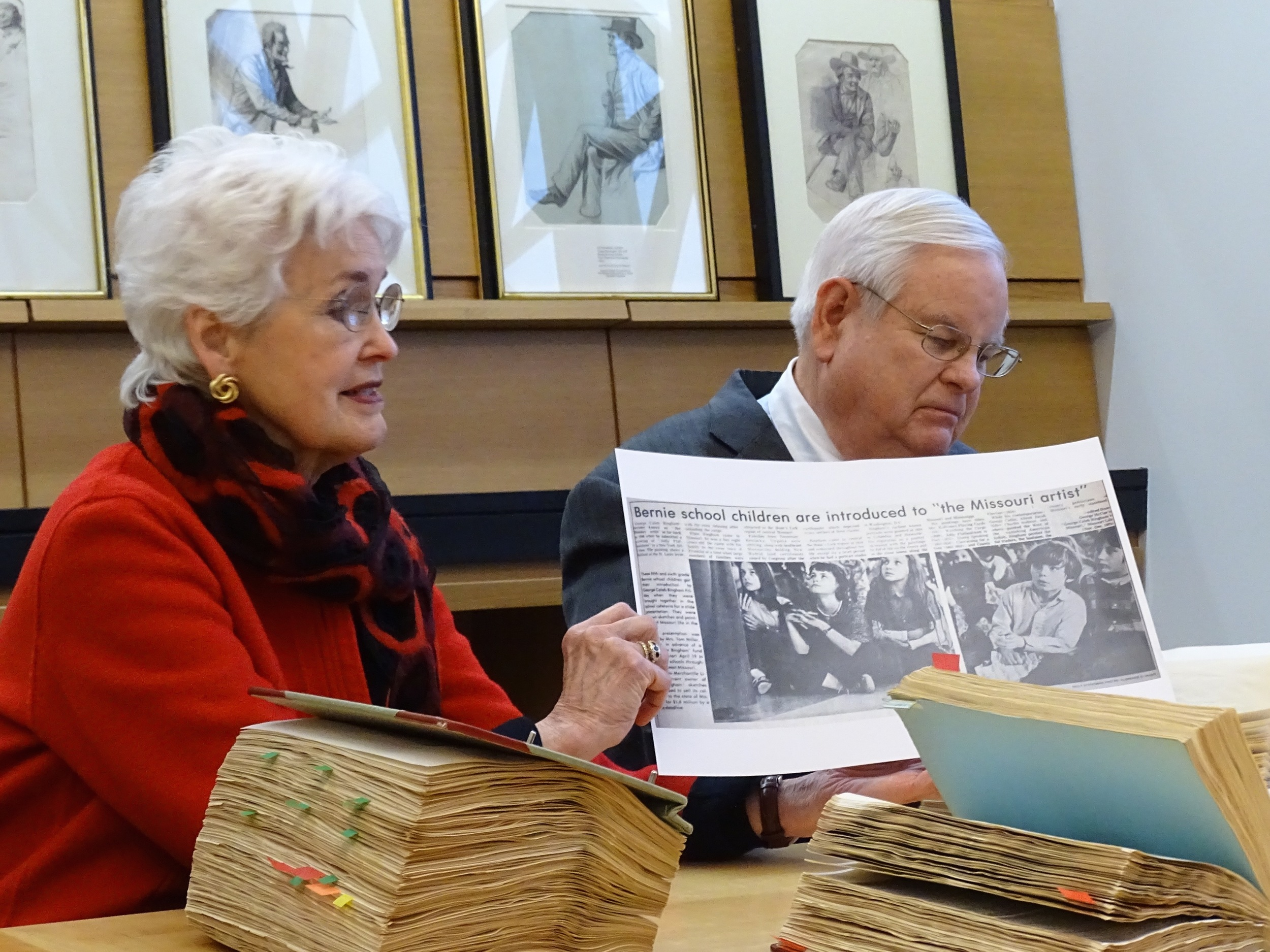 Curator Nancy Work (left) and lawyer Charles Valier recount their work in helping to raise more than $1 million in private money so the state of Missouri could purchase several Bingham's drawings and paintings.   Images courtesy Steve Byers, Friends of Arrow Rock.