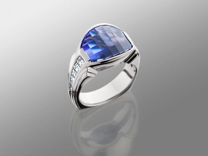 Tanzanite In Platinum Ring With Baguette Diamonds