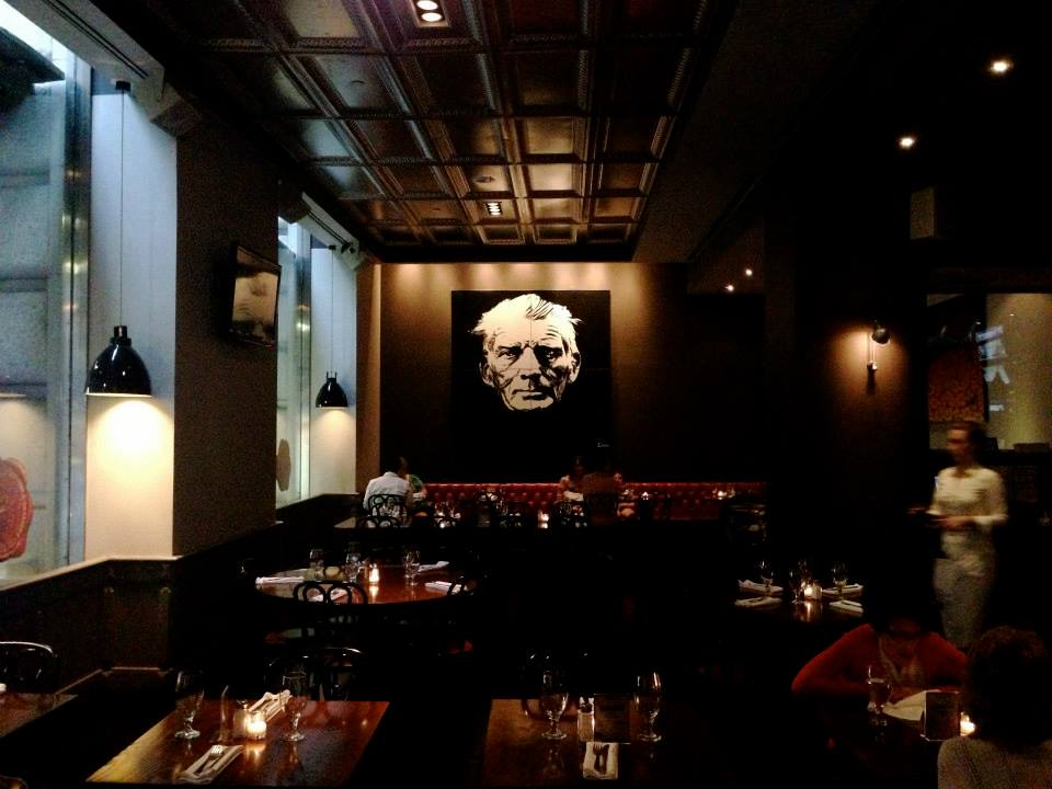 Samuel Beckett hangs in The Bailey, Wall Street, New York