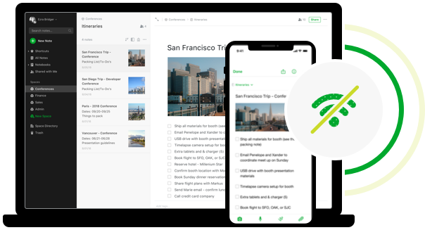 Software like Evernote uses the cloud and can backup to offline mode, so you can take your notes everywhere.