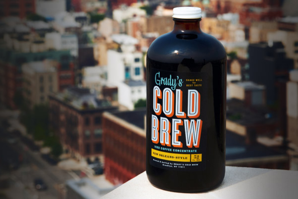 Grady's Cold Brew   New Orleans–style iced coffee concentrate that's brewed and bottled by hand in Brooklyn, New York. Each batch is made by steeping a special blend of freshly roasted coffee, ground chicory, and spices in water overnight, then extracting the grounds using a two-step filtration process. What's left? A bold, super-smooth concentrate that can be mixed with milk or cold water and served over ice.