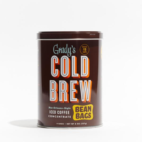 Grady's Cold Brew Bean Bags   Grady's Cold Brew Bean Bags are a B.I.Y. (Brew It Yourself) kit that lets anyone make cold-brewed iced coffee fresh at home. The Bean Bags—literally, bags with ground coffee beans, chicory, and spices—soak overnight in water and can be easily disposed of (or composted) the next day. Super-easy. No special equipment required.