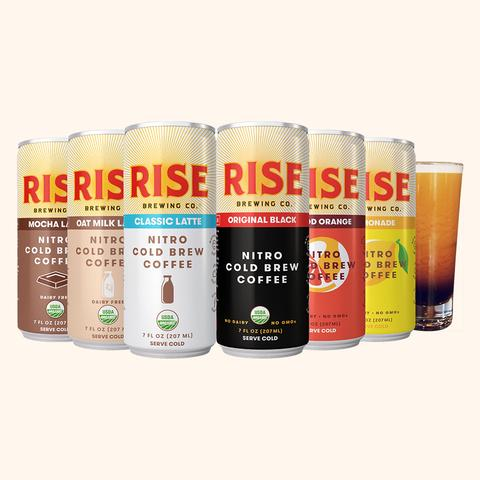 RISE Shelf-Stable   This award winning nitrogen-infused cold brew coffee is made with purified water and organic coffee. Nothing else. It's creamy, naturally sweet and refreshingly smooth.