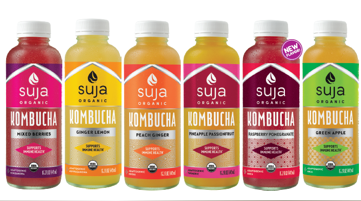 Suja Kombucha   Making great kombucha is like making great anything: start with purpose and use only the best ingredients. Suja is committed to transparency and product quality which is why, in addition to being organic and non-GMO, all of our kombuchas are verified non-alcoholic with no artificial flavors, concentrates or extracts. Plus, our kombuchas feature functional adaptogens, such as Ashwaganda and Reishi.