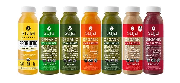 Suja Classic   Three lines of delicious Cold-Pressured, Organic & Non-GMO juices & smoothies that are USDA certified Organic and certified Non-GMO. With a wide range of cold-pressured organic offerings, Suja has a juice for every lifestyle.