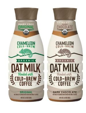 Chameleon Cold Brew with organic Oat milk.    Chameleon's classic cold-brew coffee is blended with organic oat milk and a touch of organic sugar .