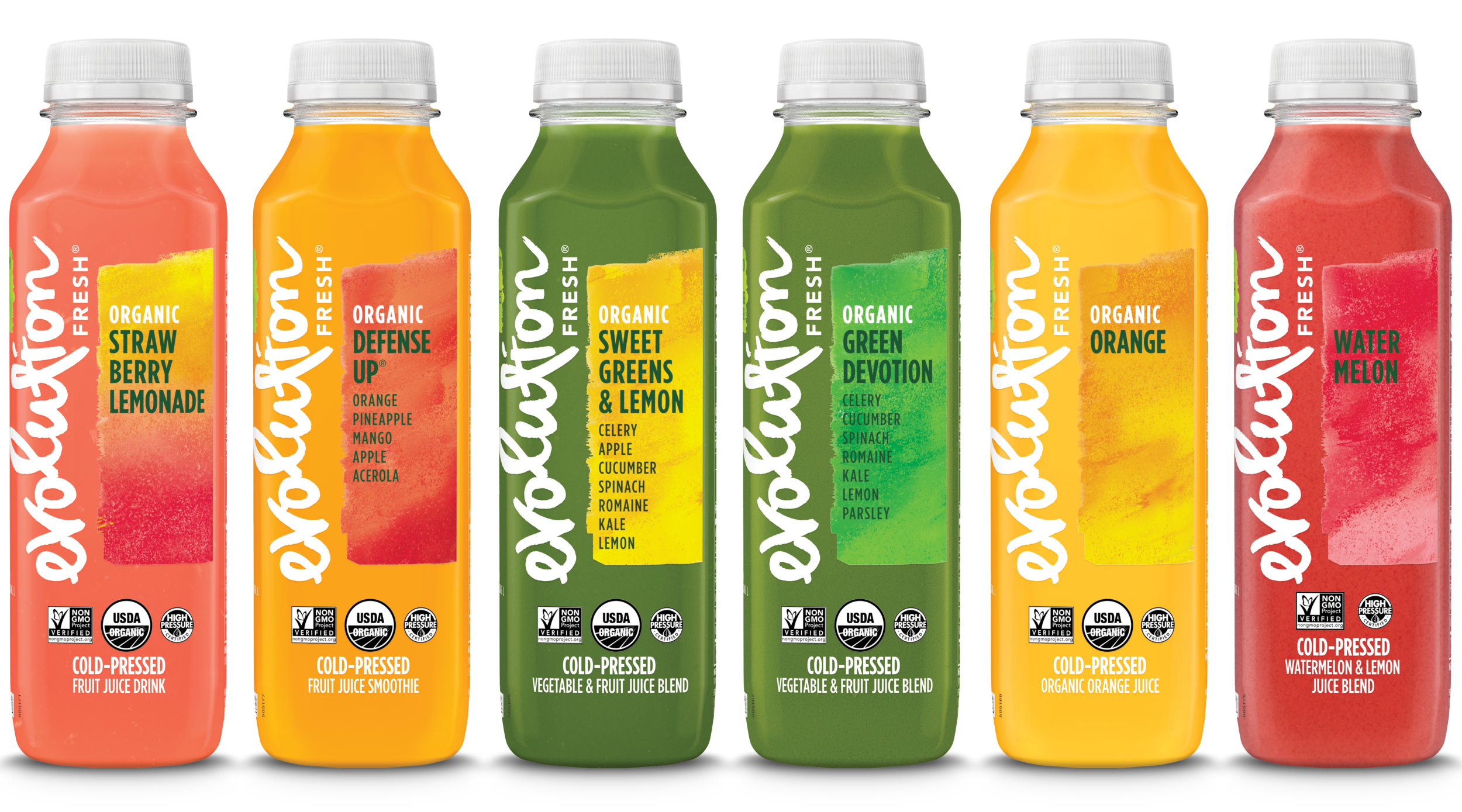 Evolution Fresh   Evolution Fresh offers cold-pressed juices and smoothies in pursuit of the most delicious, most nutritious juice experience.  * Juices are high pressure processed.