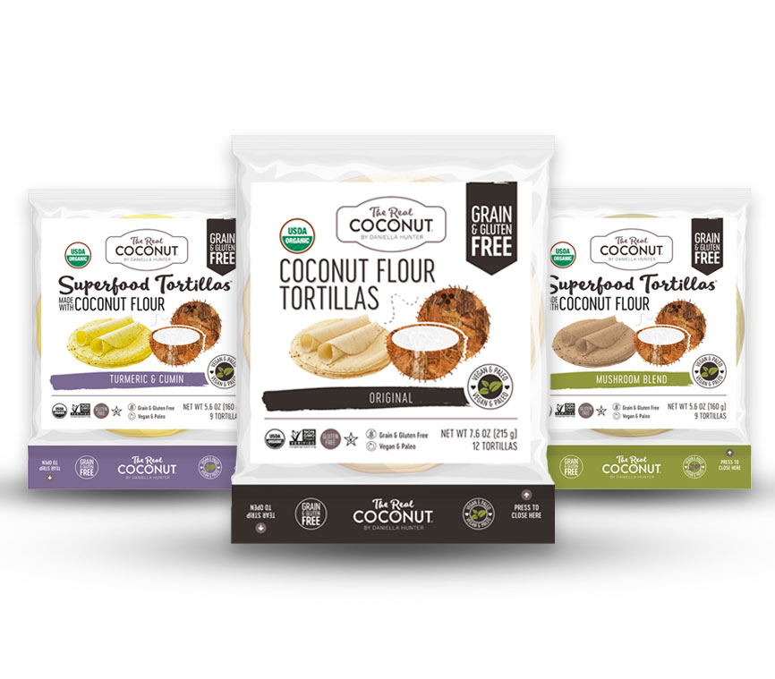 The Real Coconut   The Real Coconut Co. Coconut Flour Tortillas are a gluten free tortilla made with coconut flour and cassava. These organic, non-GMO Coconut Flour Tortillas can be enjoyed straight from the packet or warm on a skillet. Coconut tortillas (also known as coconut wraps) can be warmed in the microwave