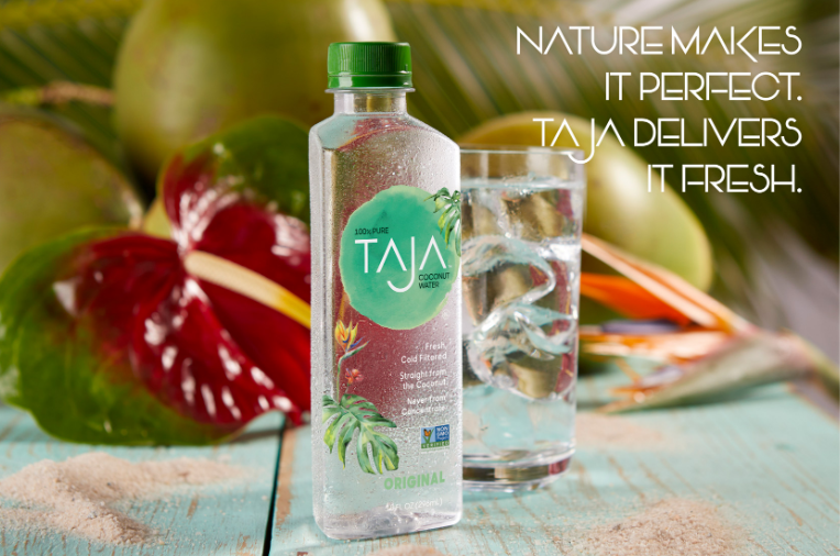 TAJA Coconut Water   Our patent oxygen-free production process means our water is never heath-treated, retaining 100% of the nutrient content- 50% more than others brands.