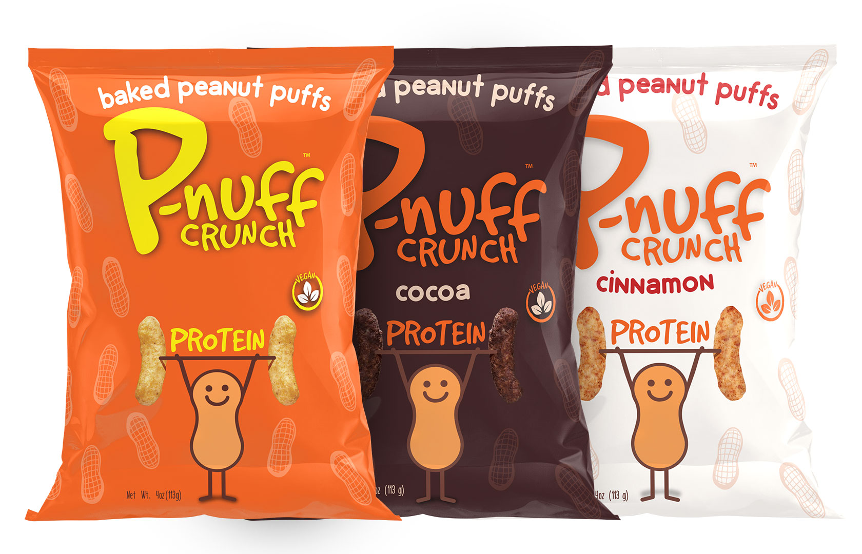 "Baked Peanut Puff Snacks   ""P-nuff Crunch is the only baked puff snack made from protein-filled peanuts, fiber-full navy beans and energy-packed complex carbohydrate rice. P-nuff Crunch keeps active kids and adults on the go, going strong! """
