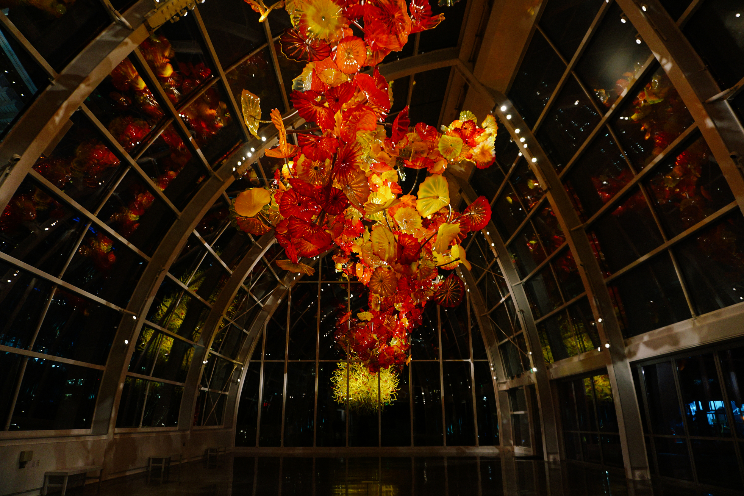 Chihuly Glasshouse at night.