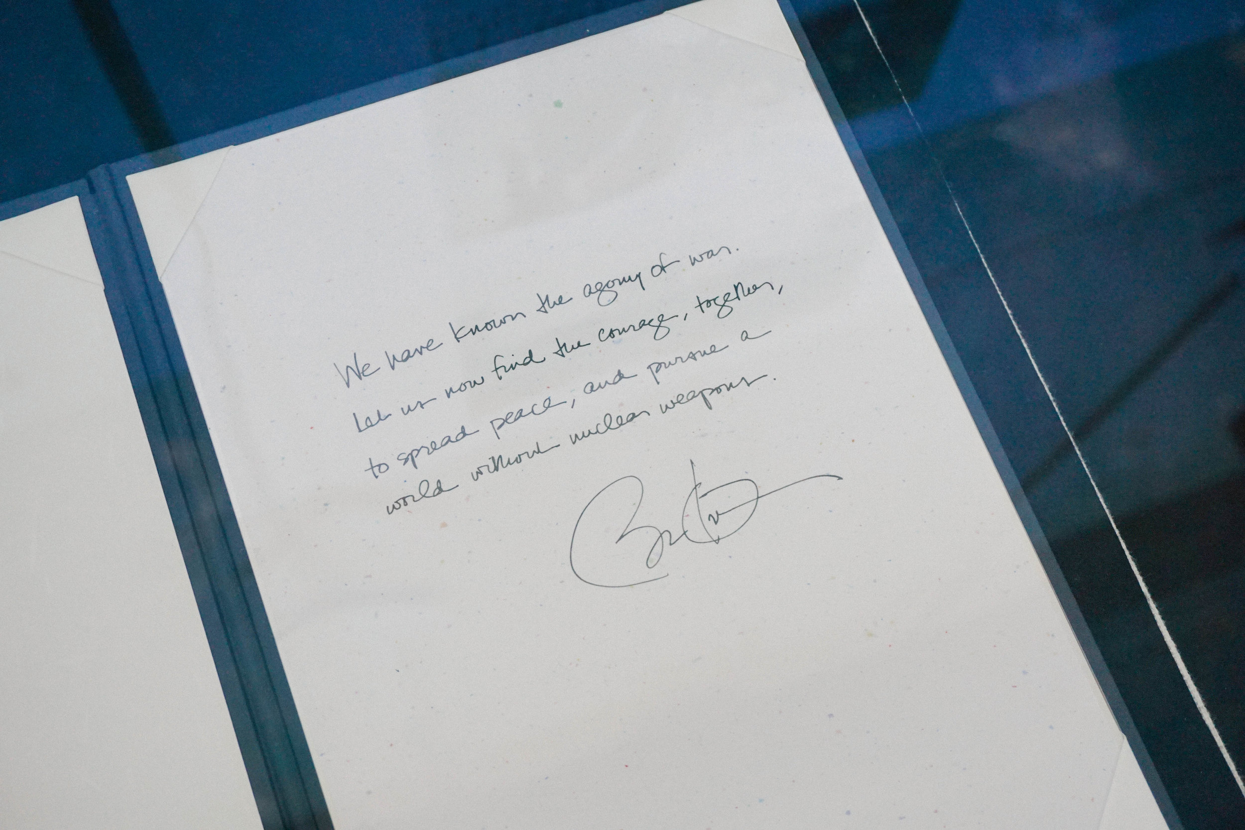 """""""We have known the agony of war. Let us now find the courage, together, to spread peace, and pursue a world without nuclear weapons."""" - Barack Obama.   By the way — flipping through the guestbook at the museum was the coolest! It included notes from figures from Mother Teresa to Jimmy Carter."""