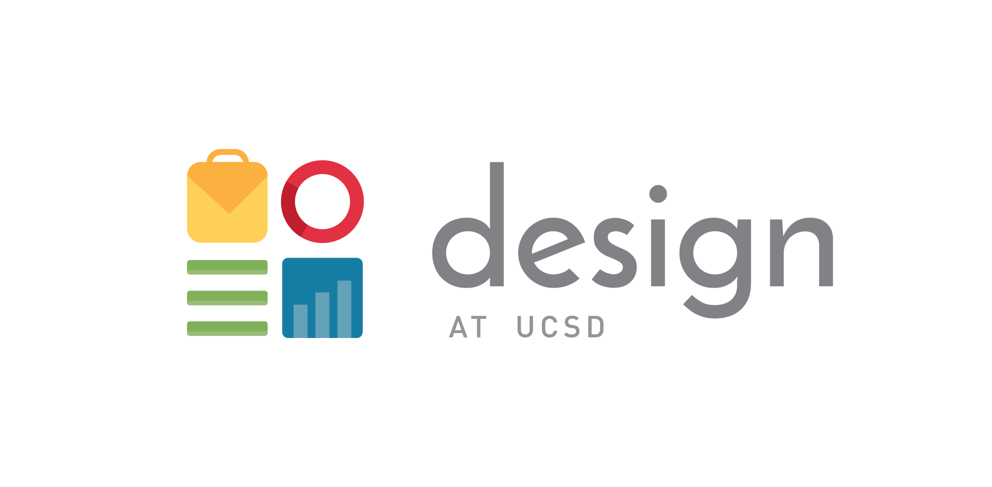 A before and after look at the Design at UCSD logo.