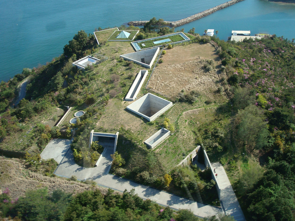 Aerial shot of the Chichu Museum from above, courtesy of  Architizer .