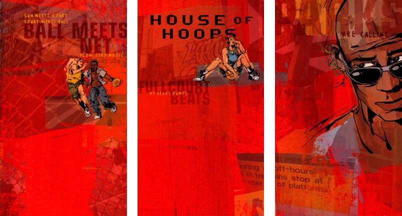 Posters which define the boundaries of the House of Hoops area in the retail space