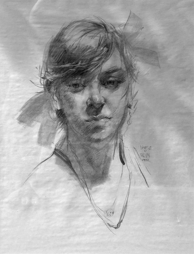Massimo Mazzon | Danielle | Charcoal on Paper