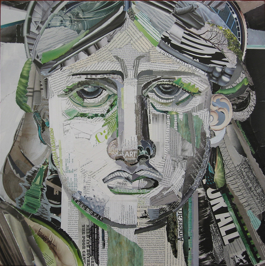 Laurie Barna | Face of Liberty | Torn Paper Collage on Canvas
