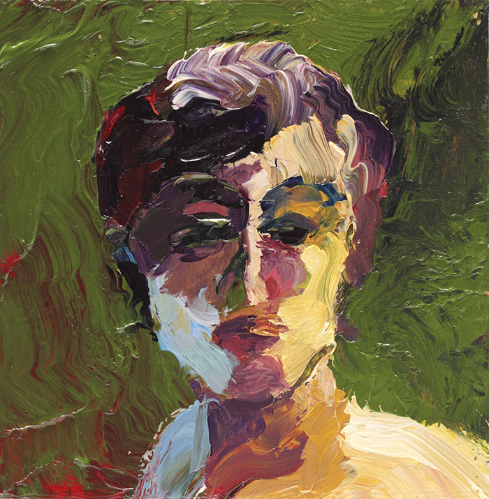 Lin Fischer | Head on Green | Acrylic on Canvas