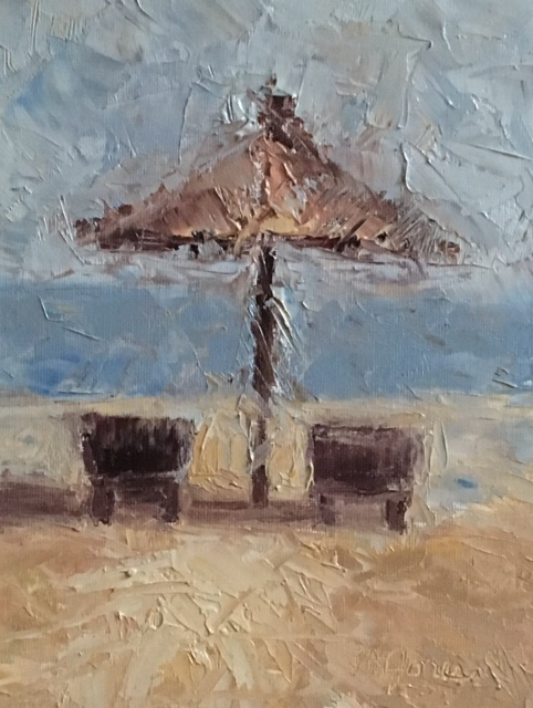 "HONORABLE MENTION  - Patricia Jones, ""Honeymoon Heaven"" (oil on board) $500"