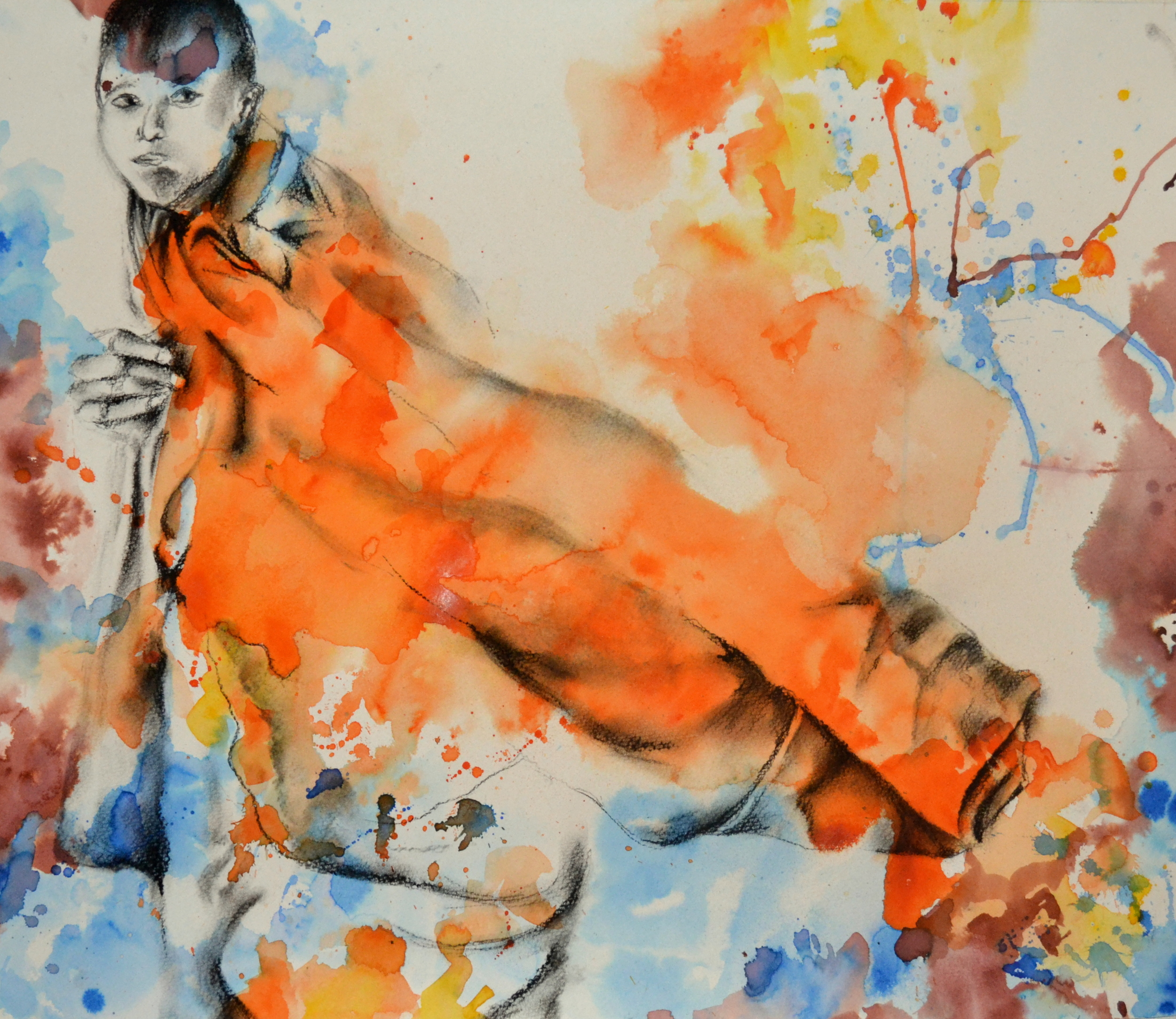 HONORABLE MENTION  - The Orange Robe (2014) | Meghana Deodhar | Acrylic, ink and charcoal on paper | 24x20"