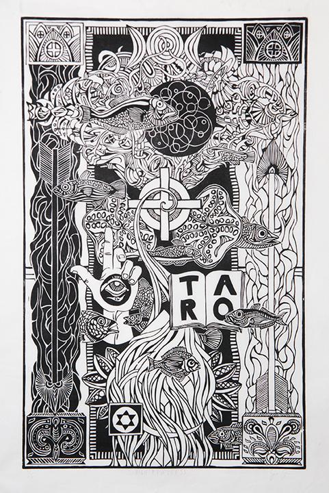 John Cadigan | The High Priestess (2015) | Woodcut Printmaking on Mulberry Paper | 15x24 | $1,500