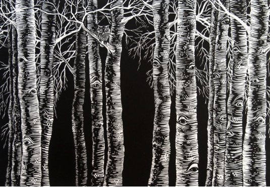 HONORABLE MENTION  - Patricia Theobald Payne | Forest Eyes | 18x26 | Linocut on rives BFK paper